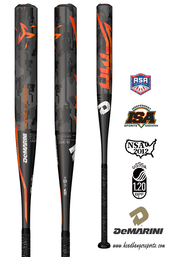 2018 DeMarini Ultimate Weapon Single Wall Slow Pitch Softball Bat: WTDXUWE at headbangersports.com