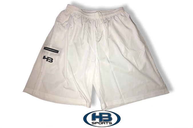White Four (4) Way Stretch Shorts at headbangersports.com