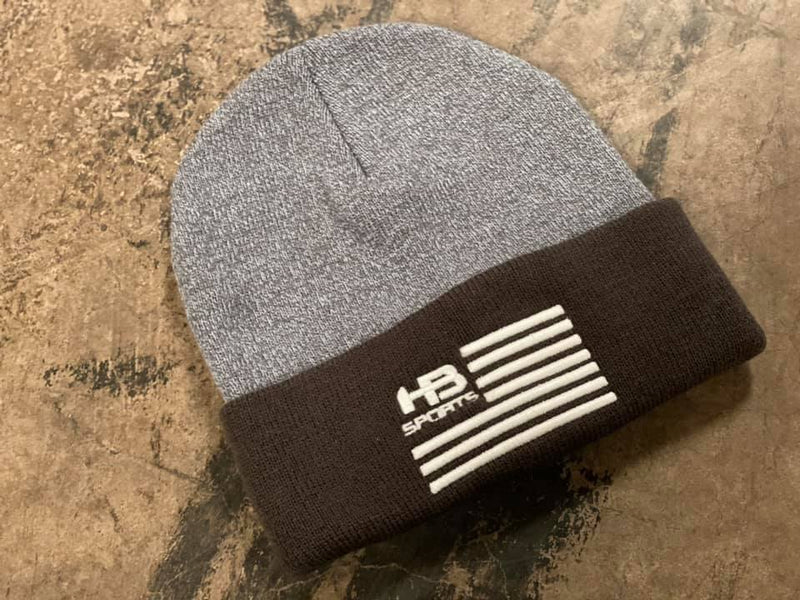 HB Sports American Flag Logo Two-Tone Cuff Beanies: Graphite