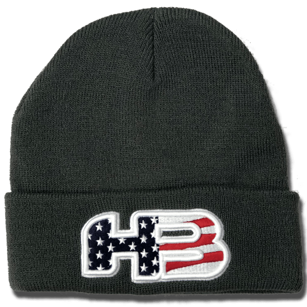 Grey Pacific Winter Hat - Custom USA FLAG HB SPORTS