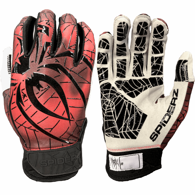 2020 Spiderz Hyper LITE Batting Gloves: Lava Charcoal/Dark Red