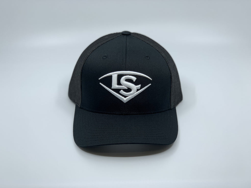 LOUISVILLE SLUGGER SHIELD FLEX FIT HAT: BLACK
