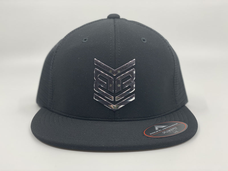 Banger Brand Exclusive Pacific ES341 Premium Performance Trucker Flexfit Hat: Black / Chrome Flag