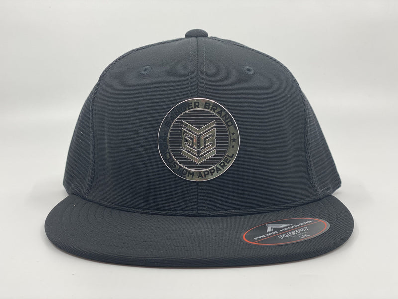 Banger Brand Exclusive Pacific ES341 Premium Performance Trucker Flexfit Hat: Chrome Circle