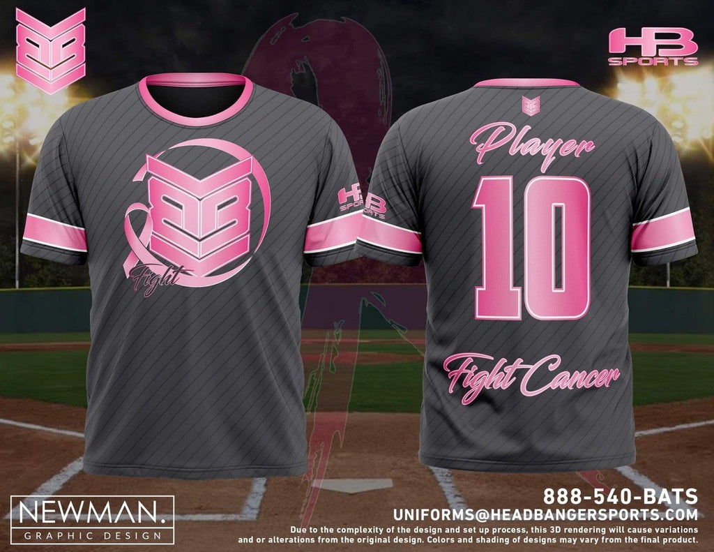 "HB Sports / Banger Brand BCA ""Fight Cancer"" Custom Grey Short Sleeve Jersey"