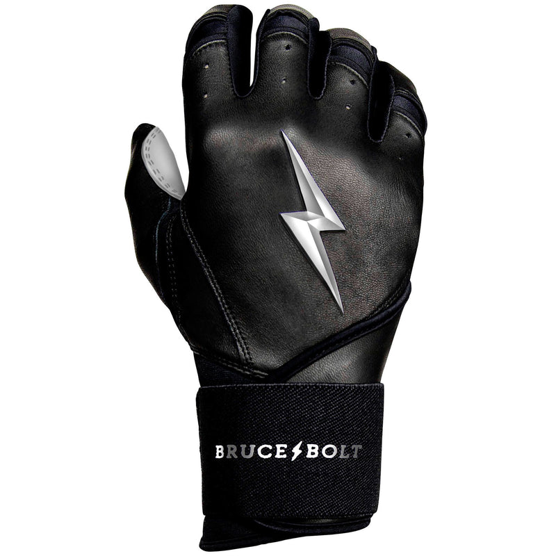 Bruce Bolt PREMIUM PRO Chrome Series Long Cuff Batting Gloves: Black