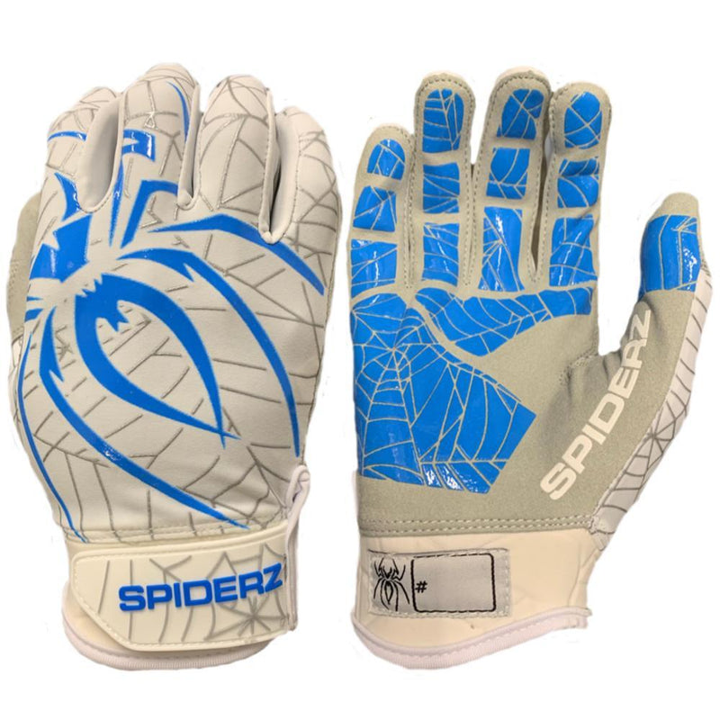 2019 Spiderz LITE Batting Gloves: White/Carolina Blue/Silver