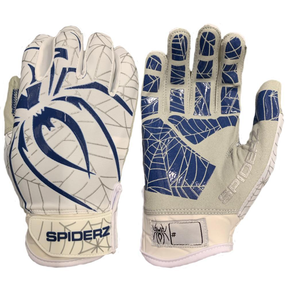 2019 Spiderz LITE Batting Gloves: White/Navy/Silver