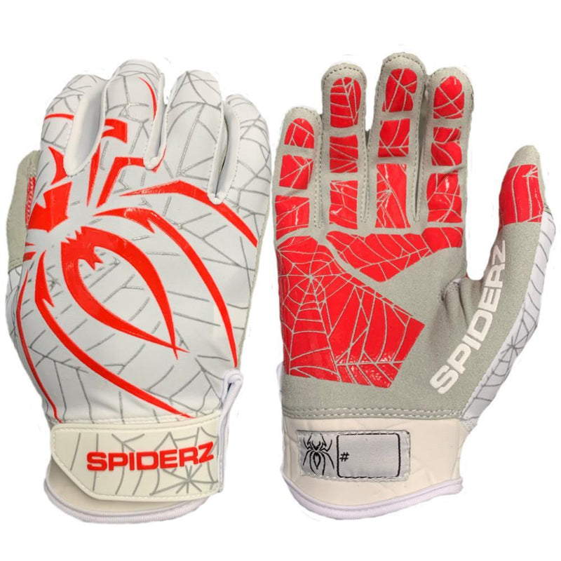 2019 Spiderz LITE Batting Gloves: White/Red/Silver