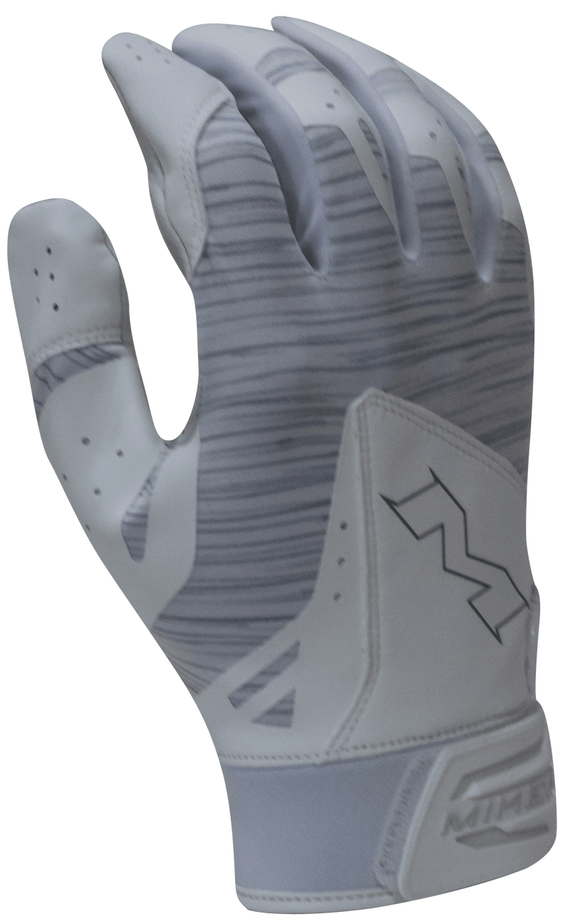2018 Adult Miken Pro White and Grey Batting Gloves: MBGL18-WHT at headbangersports.com