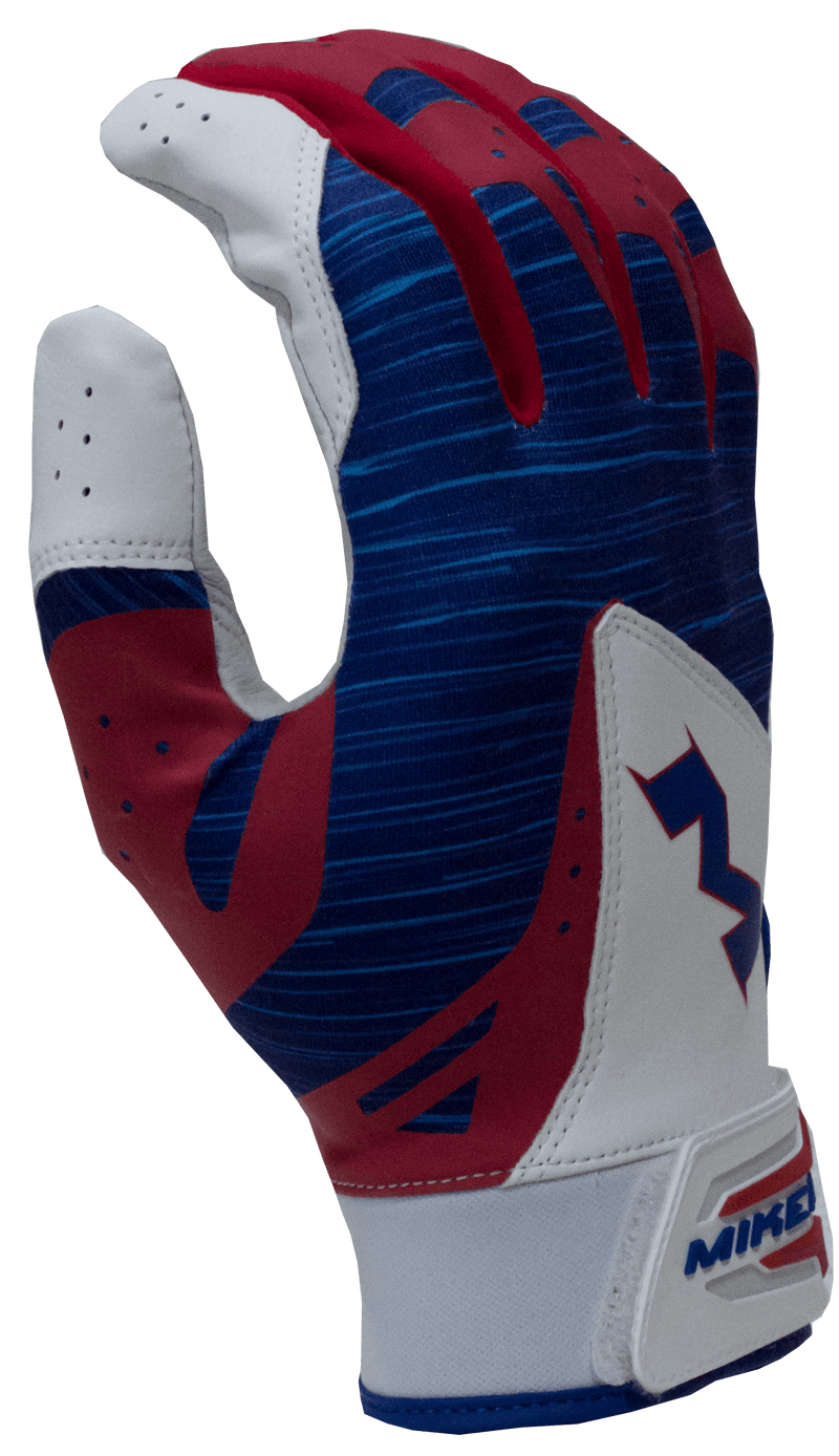 2018 Miken Pro Red White and Blue Batting Gloves: MBGL18-RWB at headbangersports.com