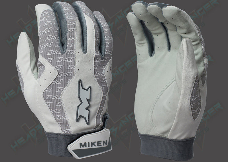 Miken White and Gray Pro Adult Batting Gloves MIKPRO-WHT