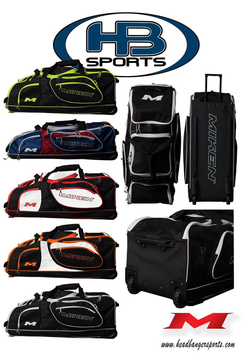 Miken and Worth Championship Wheeled Roller Baseball and Softball Bags