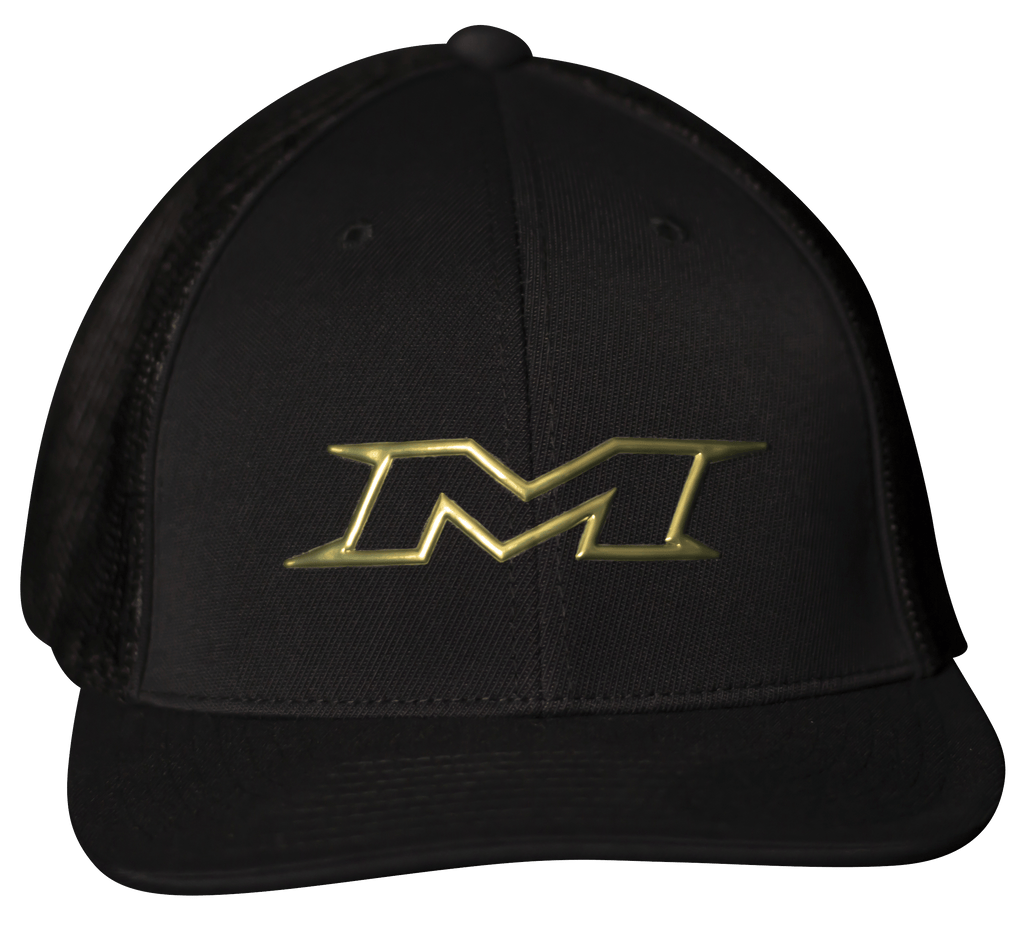 Miken Limited Edition 404M FlexFit Hat – Black/Gold: MTRUCK-FGBLK