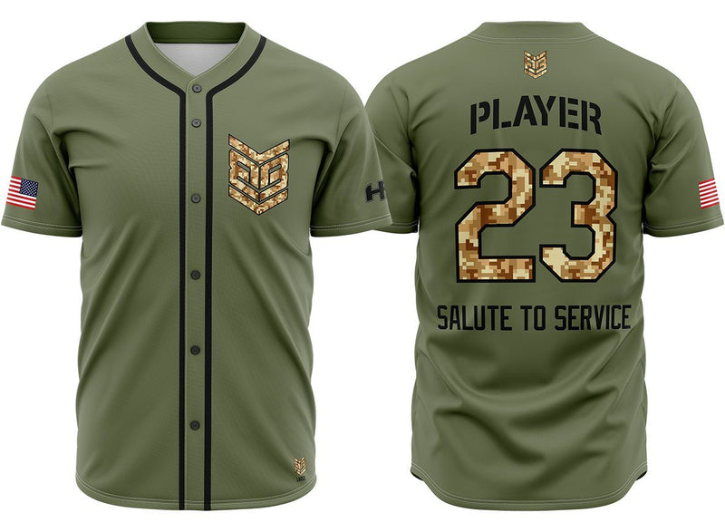 "Banger Brand ""Salute to Service"" Custom Full Button Jersey Buy In"