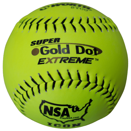 "Worth 12"" Super Gold Dot NSA Slowpitch Softballs (Dozen): NI12CY"