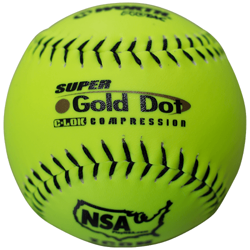 "Worth 12"" Super Gold Dot NSA Slowpitch Softballs 44/400 (Dozen): NI12SY at headbangersports.com"