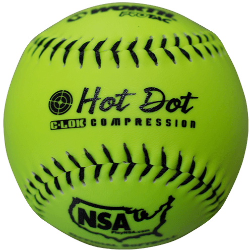 "Worth 11"" Hot Dot NSA Slowpitch Softballs 52/275 (Dozen): NO11SY"