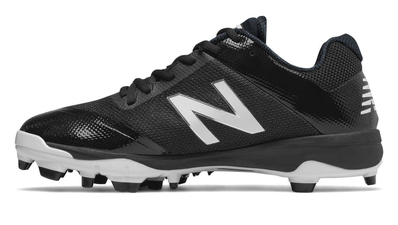 Side View of New Balance Mens Molded Black Baseball Cleat PL4040K4 at headbangersports.com