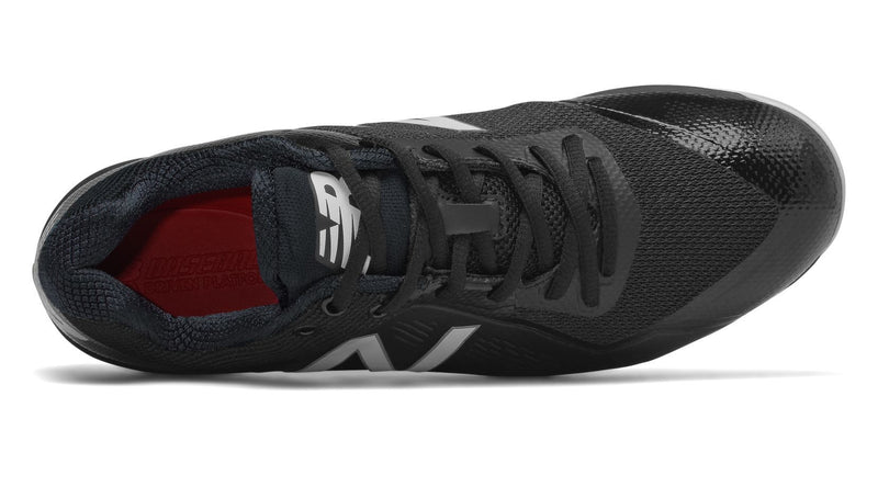 Top View of New Balance Mens Molded Black Baseball Cleat PL4040K4 at headbangersports.com