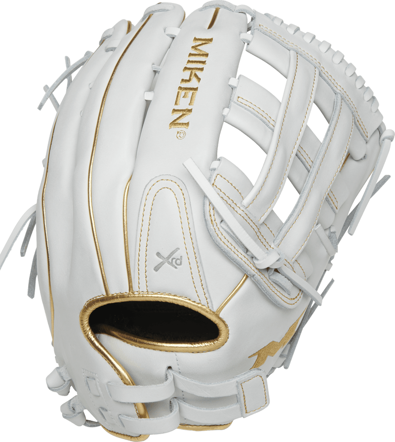 Miken White & Gold PRO Series 14″ LE Slowpitch Fielding Glove: PRO140-WG
