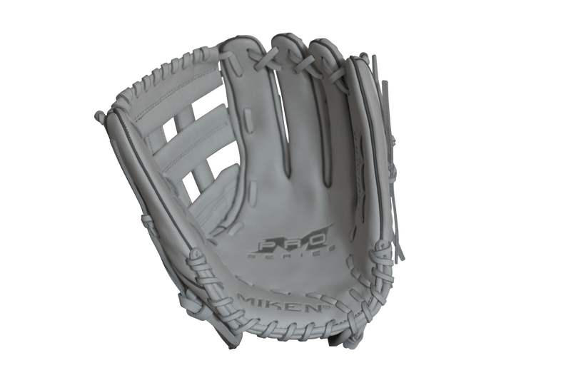 "Inside Palm View of White Miken Pro Series 13"" Slow Pitch Fielding Glove - White/White: PRO130WW at headbangersports.com"