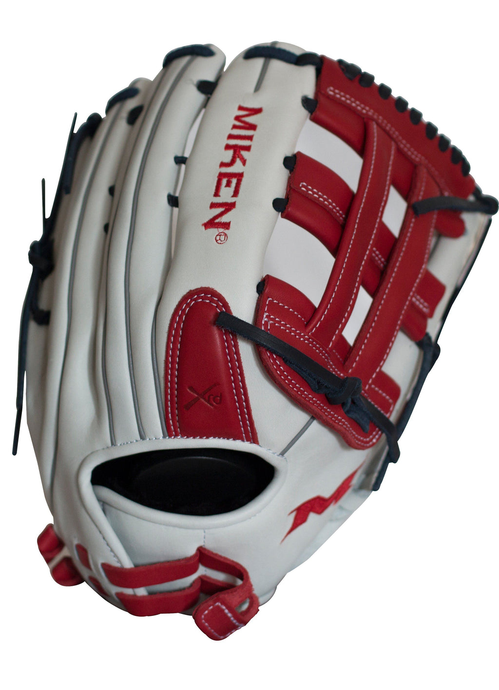 Miken Pro Series 13.5″ Slow Pitch Fielding Glove – White/Scarlet/Navy: PRO135WSN at headbangersports.com