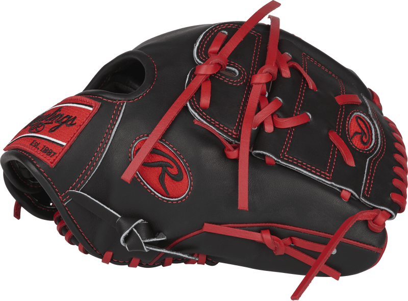 Right Hand Throw Black and Red Rawlings Heart of the Hide Baseball Pitcher/Infielder Glove: PRO205-9CBS