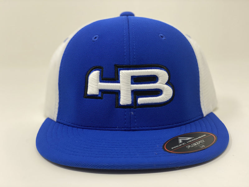 HB Sports Exclusive Pacific ES341 Premium Performance Trucker Flexfit Hat: Royal B