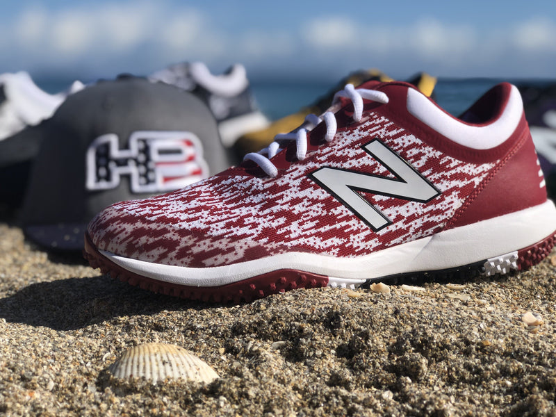 New Balance Men's T4040v5 Baseball and Softball Turf: White and Cardinal Red at headbangersports.com