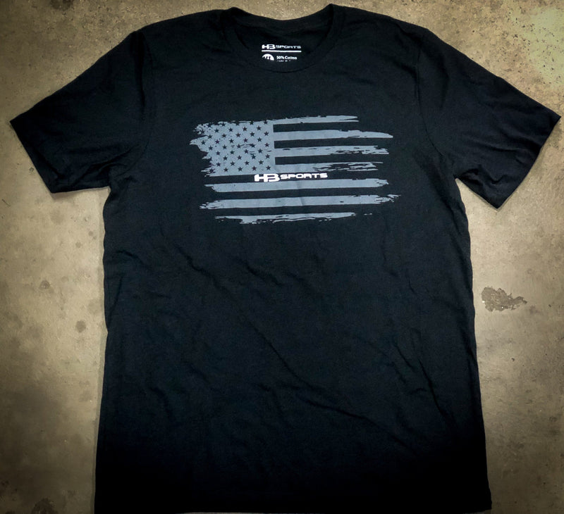 BLACK HB Sports Grey'd Out American Flag Logo T-Shirt at headbangersports.com