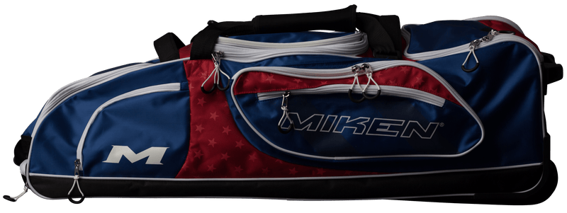 Red, White, and Blue Miken Championship Wheeled Roller Bag MKBG18-CH-RWB