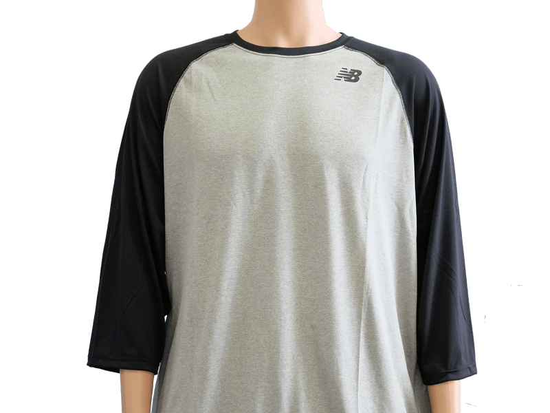 New Balance Team Black 3/4 Baseball Raglan Top Shirt at headbangersports.com