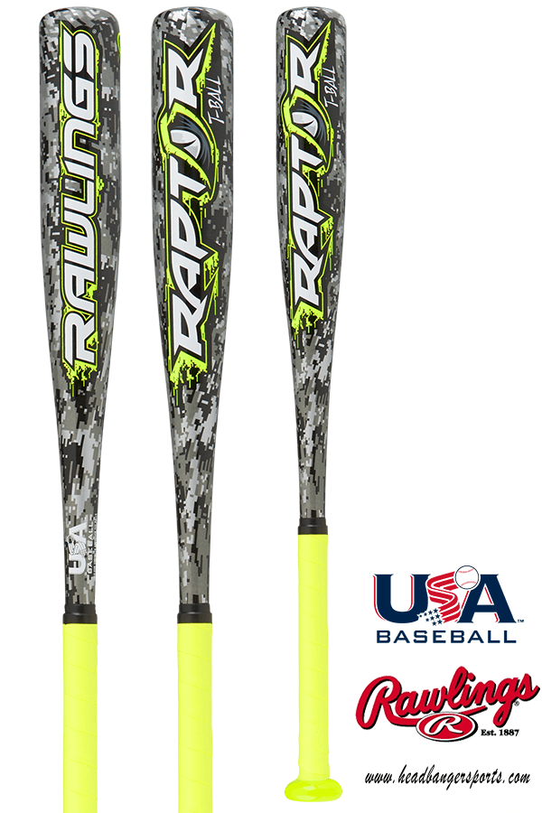 2018 Rawlings Raptor Youth USA Tee Ball Bat (-12): TB8R12 at headbangersports.com