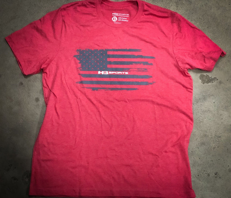 Red/Salmon HB Sports Grey'd Out American Flag Logo T-Shirt at headbangersports.com