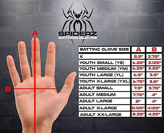 Spiderz Batting Glove Size Chart/Guide