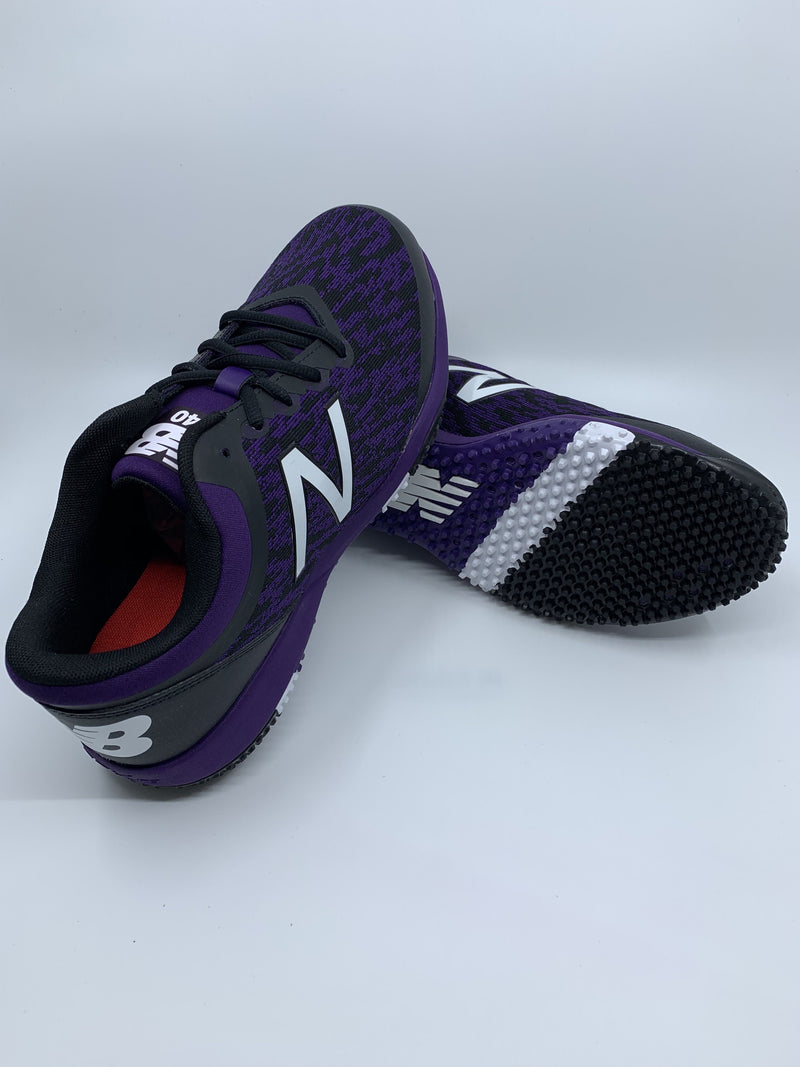 New Balance Men's T4040v5 Baseball and Softball Turf: Black and Purple with Fast Free Shipping