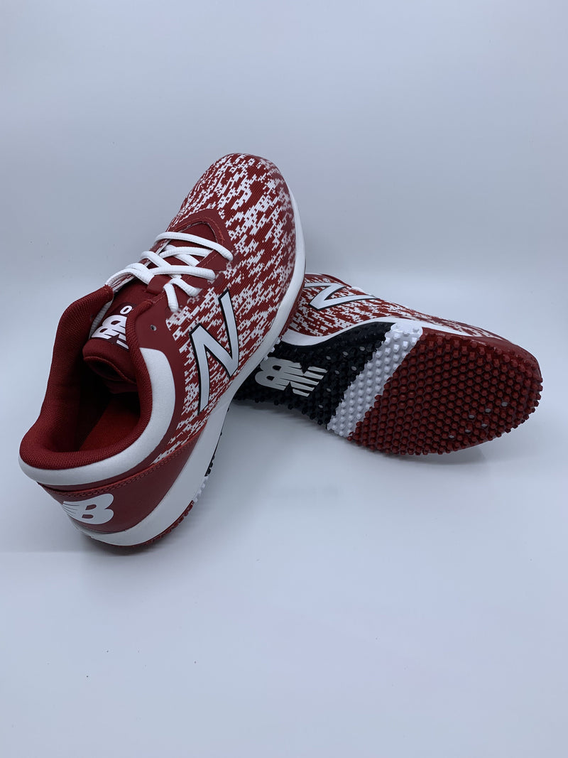 New Balance Men's T4040v5 Baseball and Softball Turf: White and Cardinal Red with fast free shipping
