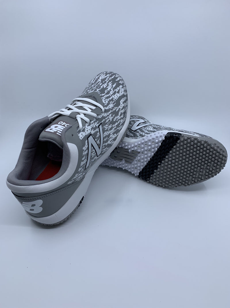 New Balance Men's T4040v5 Baseball and Softball Turf: Grey and White with Fast Free Shipping
