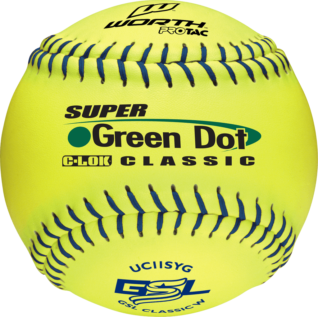 "Worth 11"" Super Green Dot Classic GSL Classic W Softballs (Dozen): UC11SYG at headbangersports.com"