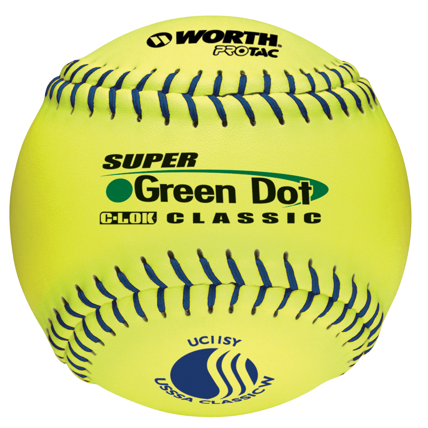 "Worth 11"" USSSA Super Green Dot Classic W Softballs (Dozen): UC11SY at headbangersports.com"
