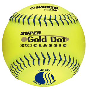 "Worth 12"" USSSA Super Gold Dot Softball (Dozen): UC12SY at headbangersports.com"