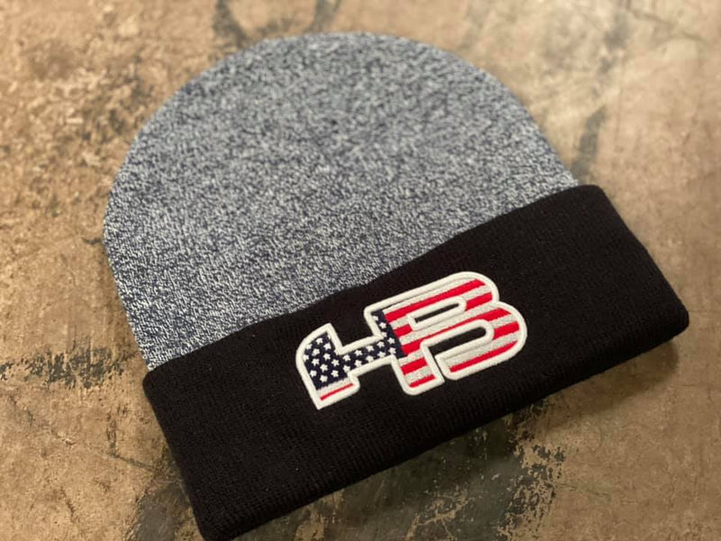 HB Sports American Flag Logo Two-Tone Cuff Beanies: Navy USA