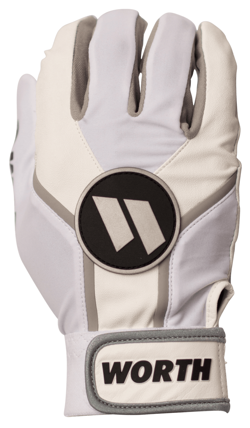 Worth Adult White and Grey Team Batting Gloves: WBATGL-WHT at headbangersports.com