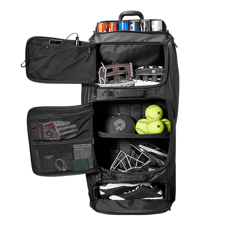 Inside of DeMarini Special Ops Spectre Wheeled Roller Bag: WTD9412