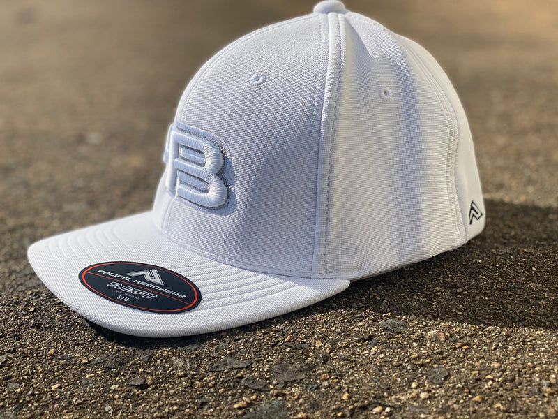 HB Sports Exclusive Pacific 498F Performance Flexfit Hat: White GlowHB Sports Exclusive Pacific 498F Performance Flexfit Hat: White Glow