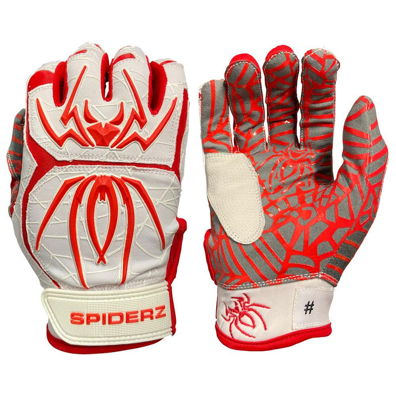 2021 Spiderz HYBRID Batting Gloves: White/Red