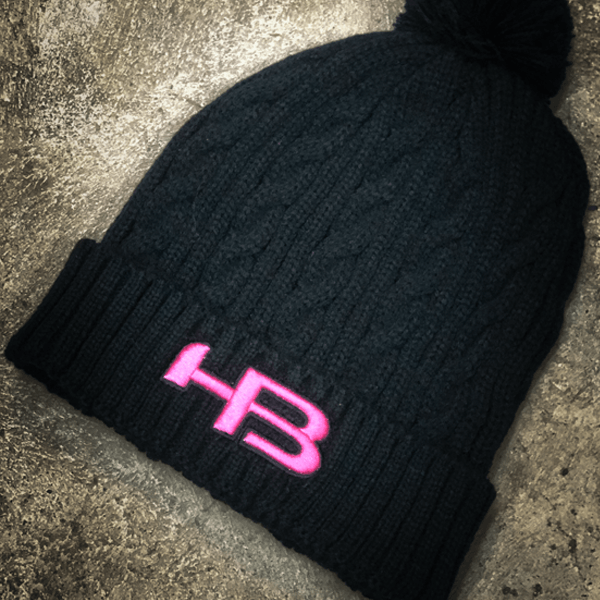 HB Sports Woven Knit Winter Hat (Beanie): Black and Pink