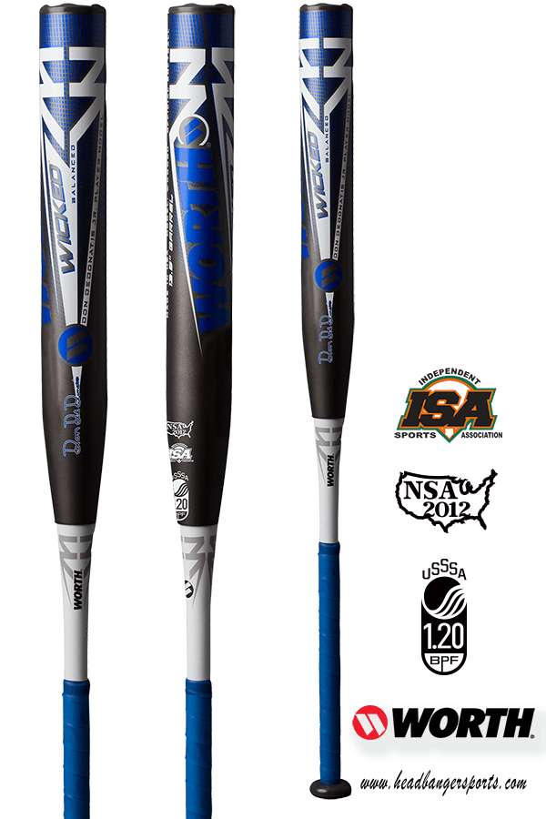 "2019 Worth Don DeDonatis III Wicked 13.5"" Balanced USSSA Slowpitch Softball Bat: WKDDBU"