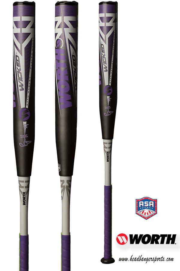 "2019 Worth Ryan Harvey Wicked 13.5"" XL ASA Slowpitch Softball Bat: WKRHMA at headbangersports.com"